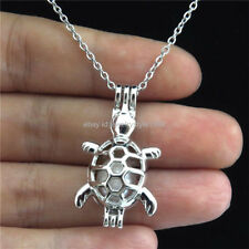 Tortoise Locket Necklace Stainless Chain Stdp91 Silver Pearl Cage Animal Ocean