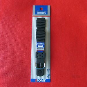 GENUINE SEIKO BLACK  RUBBER WATCH BAND 20 MM  BONUS 2 FAT STEE SPRING BARS