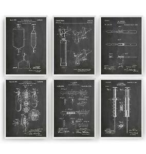 Medical Set Of 6 Patent Prints - Nurse Doctor Poster Wall Art Decor - Unframed