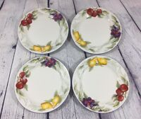 """4 Totally Today Salad Plates Fruit Design - 7.75"""" / Pear Apple Berry Dishes"""