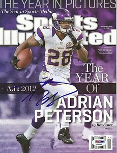 ADRIAN PETERSON AUTOGRAPHED SIGNED MINNESOTA VIKINGS PSA/DNA SPORTS ILLUSTRATED