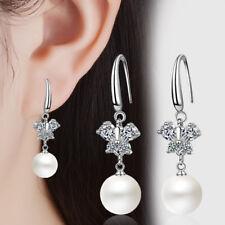 Valentine's Day Solid 925 Sterling Silver Zircon Butterfly Pearl Dangle Earrings