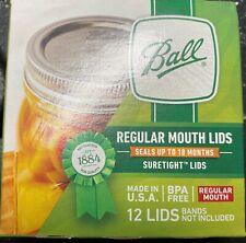 BALL Regular Mouth Canning Lids Mason Jar 12 Ct Suretight BPA free (NO BANDS)
