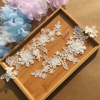 1Set Flower Embroidery Motif Lace Applique Patch DIY Y0M8 Craft Trimming Se P4B1