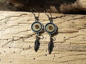 Handmade Dangle Bullet Earrings & Feather Charm. With or without Crystals E579