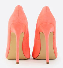 High Heel Pointed Toe 5.12 in Stiletto Neon Coral Shoes US11