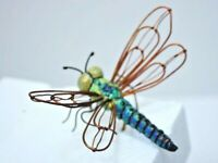Copper wing Dragonfly teal/green body, flower pot accents NEW gift