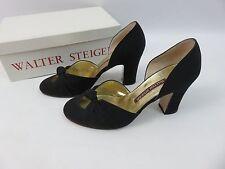 Walter Steiger Damen Schuhe Shoes Pumps Blockabsatz Schwarz 37 Retro Look Satin
