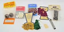 LOT OF 9 Sewing Supplies-India House Tassels, Plastic Clamps,Felt Eraser,Beads