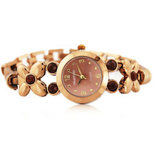 Women Ladies Butterfly Bronze Stainless Watch with Gem Elegant Waterproof  Watch
