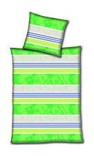 Hahn Haustextilien Microfaser Bettwäsche Streifen grün 135x200 Cm