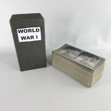RARE UNDERWOOD STEREOVIEW SET World War 1 WWI Military with CASE BOX 45 CARDS