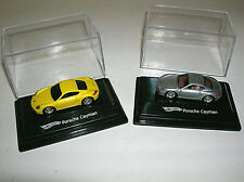 2 Hot Wheels Porsche Cayman Cars Diecast 1:87 w/ Display Cases 2007 Yellow &