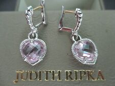 JUDITH RIPKA JR TWO PINK CRYSTAL 18K GOLD & STERLING HEART EARRINGS BOX/POUCH