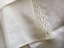 XXL Bettlaken Laken Tuch Überwurf mit Spitze 240 x 240 cm, Leinen, Milchweiß