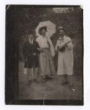 PHOTO ANCIENNE Déguisement Travesti Couple Drôle Curiosité 1920 Ombrelle Déguisé