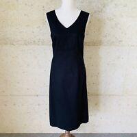 Suzanne Grae Size 14 Classic Black Linen Blend Sleeveless Dress, V Neck