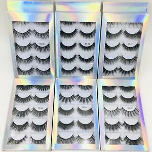 5 Paar 5D Künstliche Wimpern Set 100% Eyelashes Damen Fake Lashes False Falsche