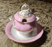 VINTAGE PORCELAIN CONDIMENT DISH WITH COVER AND ATTACHED BOWL  MADE IN PORTUGAL