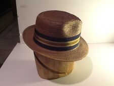 Vintage men's straw Hat Fedora size 6-5/8 Churchill Great Vintage