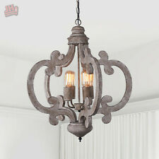 Farmhouse Kitchen Indoor Chandelier Lighting Antique Wood Pendant Ceiling Light