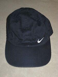 NIKE NAVY BLUE COTTON WHITE SWISH BASEBALL HAT CAP BOY'S GIRL'S CHILD 4-7 YO