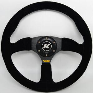 KODE-350mm Half Dish Suede Steering Wheel Black Stitch Fit 6x70mm PCD Boss Kit