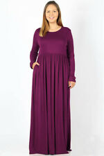 BIG WOMENS PLUS SIZE LONG SLEEVE STRETCHY KNIT CASUAL FALL SPRING MAXI DRESS