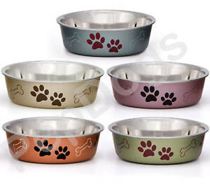 STAINLESS STEEL Non Skid Bella Dog Puppy Designer Bowl