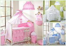 8pcs BABY BEDDING SET TO FIT BABY COT or COTBED/ TEDDY BEAR/HEART/CANOPY 480cm!!