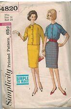 4820 Vintage Simplicity Sewing Pattern Misses Blouse Raglan Sleeve Skirt 1960s