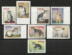 VIETNAM 1979, DOMESTIC CATS, FELINES Scott 1025-1032 IMPERFORATE, VERY FINE USED