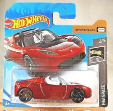 2019 Hot Wheels #109 HW Space 2/5 TESLA ROADSTER WITH STARMAN Maroon Short Card