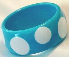 Blue Polka Dot Bangle Lucite Acrylic Bracelet