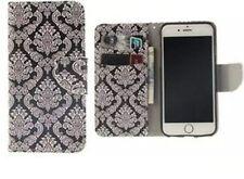 ^ Schwarz - Weiß LG Q6 Tasche Buch Form Case Wallet Motiv Design Cover Etui