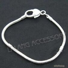 5pcs Silver Plated Heart Lobster Clasp Chain Bracelet 20cm Fit Charms Bead DIY L