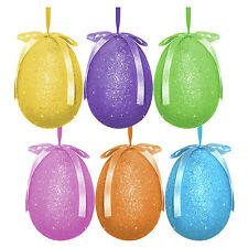 Pack of 6 Large Multicolour Glitter Hanging Easter Eggs - Bonnet Hat Decoration