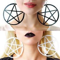 AS_ LC_ NE_ Fashion Punk Rock Round Pentagram Star Earrings Hoop Goth Ear Hook S