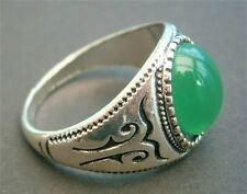 AT261*) Ethnic Tribal style silver tone metal green inlay Ladies Men's ring