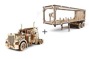 UGEARS Mechanical 3D Puzzle Wooden HEAVY TRUCK VM-03 + TRAILER Model assembly