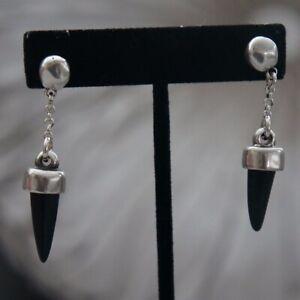 """New Uno de 50 Retired Silver 2.5"""" Drop Dangle Black Horn Statement Earrings"""