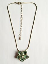 Necklace, 47cm Length, Good Condition Silver & Turquoise Sparkly Floral Pendant