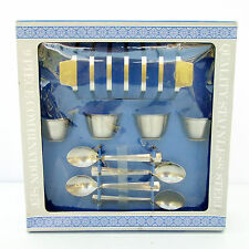 Vintage Retro Stainless Steel Breakfast Set Egg Cups Spoons Toast Rack