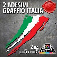 Adesivi Sticker GRAFFIO ITALIA ITALY FLAG BANDIERA MOTO AUTO BICI 5x5 2 PZ.