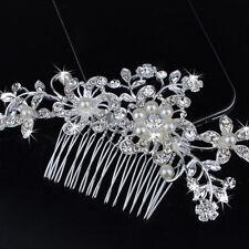 Mode Braut Hochzeit Blumen Perlen Haarkamm Klipp Diamante Crystal Rhinestone