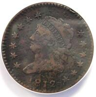 1812 Classic Liberty Large Cent 1C Coin - ANACS VF20 Details - Rare Date Penny!
