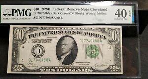 FR.2002-Ddgs DARK GREEN 1928-B $10 DOLLAR  FEDERAL RESERVE NOTE~PMG 40 EPQ