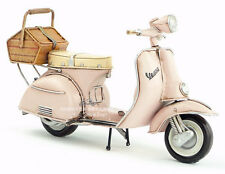 Miniature Retro Style Pink Vespa Motorcycle with Basket Hand Made Toy for Blythe