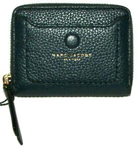MARC JACOBS Blue Sea Leather Zip-Around Mini Wallet NWT