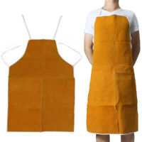 Leather Welding Apron Heat Resistant Work Safety Insulated Adjustable Neck Waist